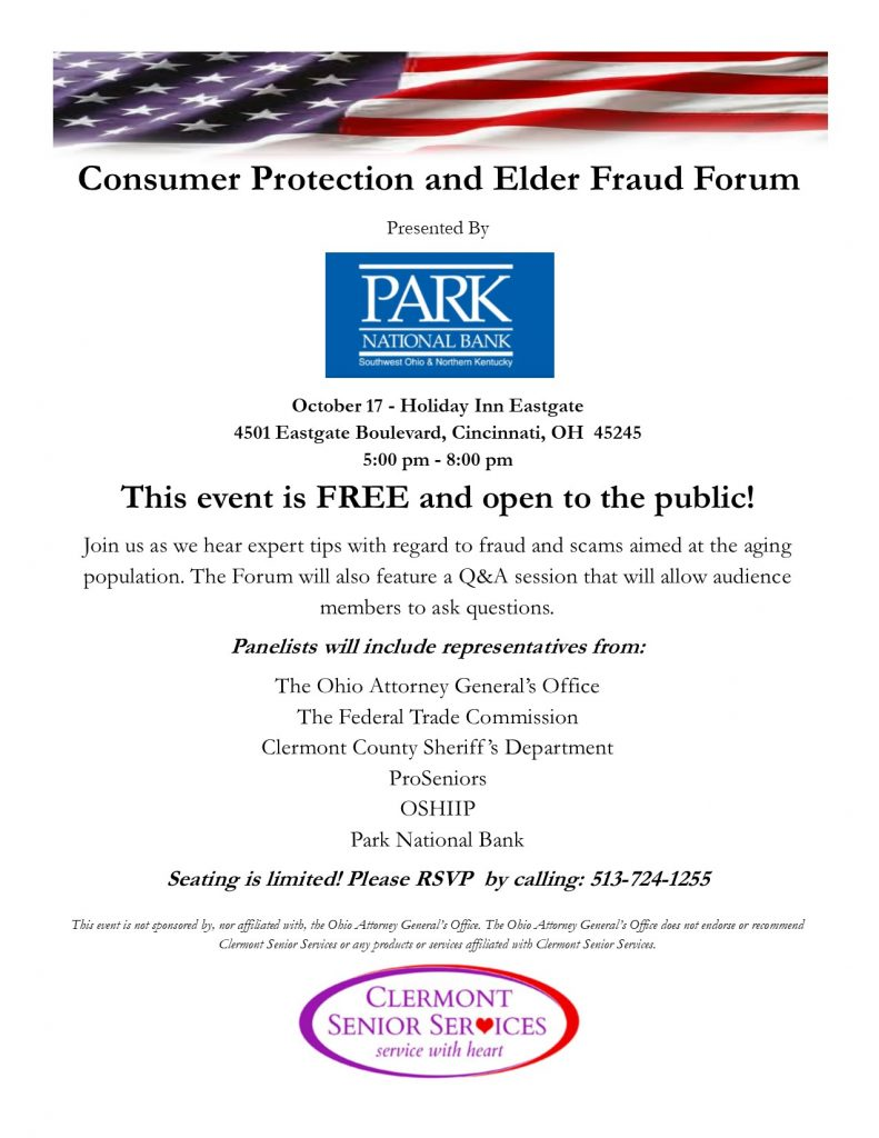 consumer protection and elder fraud forum clermont senior services. Black Bedroom Furniture Sets. Home Design Ideas